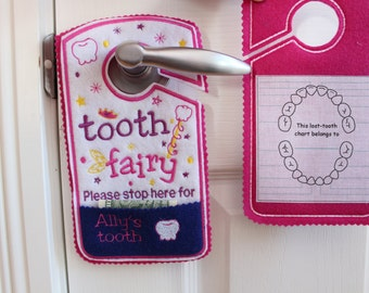 tooth chart, Tooth fairy pillow alternative, tooth fairy please stop here, custom name tooth fairy door hanger, personalized pocket TF1