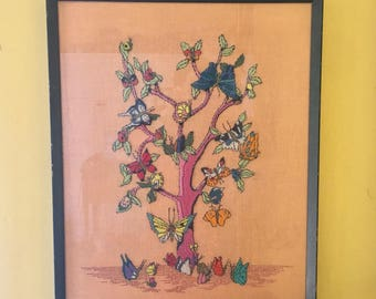 Mother Gift Crewel Embroidery Wall Art Framed. Butterfly Tree. Framed. Stunning.