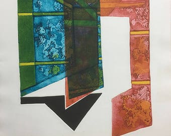 "Color Etching ""Threshold"" Ed. 30/30, 1971 by artist E. Trevor"