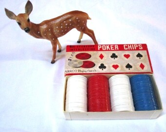 Vintage Poker Chips, Box of 100 Interlocking Pieces, Assemblage or Altered Art Supplies, Original Box Price 1.49, Red White Blue, Arrco