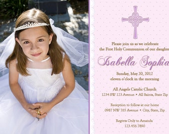 Girl First Communion Invitation, Communion Invitations, Girl First Holy Communion Invitations, Communion invitations for Girls