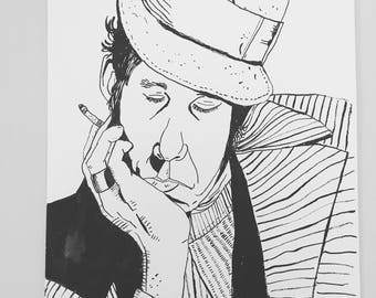 ORIGINAL INK DRAWING Tom Waits