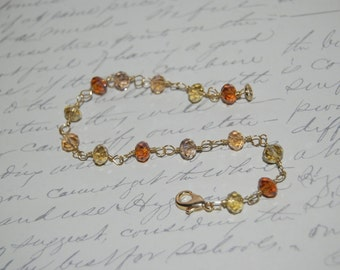 Crystal Amber Champagne Color Wire Wrap Bracelet