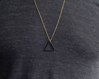BLACK Triangle Necklace / Custom Chain, Long Necklace / Matte Black Triangle Pendant / Unisex Mens Necklace / Bohemian Fringe
