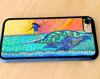 Wahine Surf Art Rubber iPhone X, iPhone 6/6s, iPhone 6 Plus, iPhone 7/8, iPhone 7/8 Plus