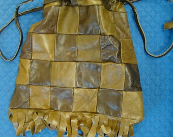 Vintage Leather Purse Bag Patchwork 1960s 2 Tone Brown