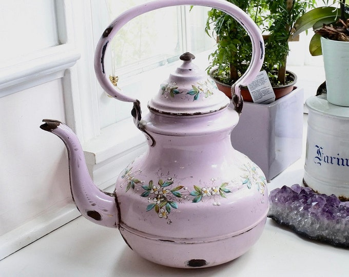 Featured listing image: French Enamelware Tea Kettle, Extremely Rare, Museum-quality, Pink flowered pattern, c. 1880, Gift for Her, Easter Gift, Springtime