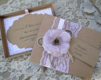 Will You Be My Bridesmaid Boxed Card With Personalised Tag-Rustic Card Box-Bridesmaid Invitation- Vintage Invite