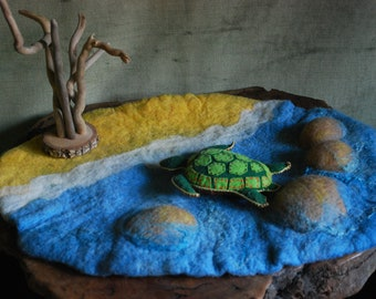 Sandy beach playscape, waldorf felted mat