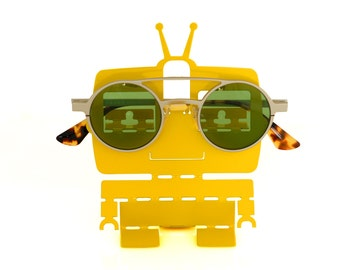 sunglass holder for car - Reading glasses stand - Yellow Robot toy office desk accessories - Organization station - Modern home decor -4eyes