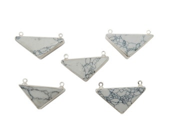 White Howlite Connector - White Howlite Triangle Double Bail Pendant with Electroplated Silver Edge (S93B9-01)