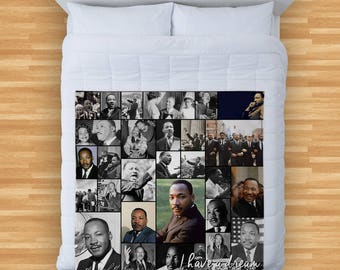 Martin Luther King Montage Design Soft Fleece Blanket Cover Throw Over Sofa Bed Blanket