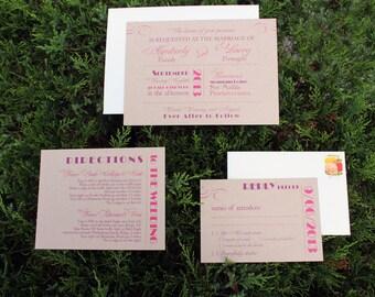 Modern Rustic Wedding Invitation / Purple and Fuschia / Modern Wedding Invites / Mixed Font Design Sample