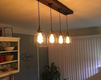 Ceiling Fixture - Pendant - Hanging Lighting - Industrial Light - Cage light - Wood Light - Barn Light - Farmhouse Light-lighting