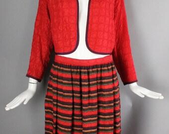 70s GEOFFREY BEENE crinkle silk 2 pc dress outfit w/ bolero jacket top & skirt striped vintage 1970s Bergdorf Goodman