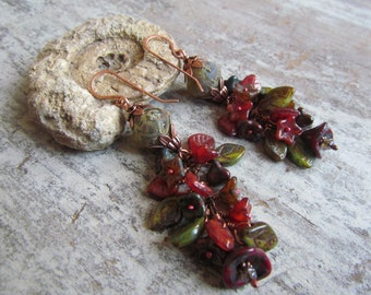 Long Cluster Earrings ~ Boho Flower Earrings, Unusual Dangle Earrings, Red and Green Rustic Earrings, Unique Copper Earrings, OOAK Handmade