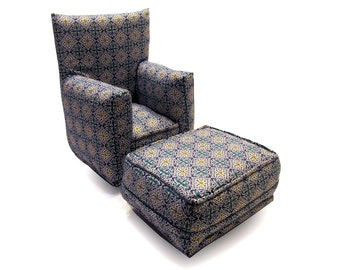 Barbie Doll Living Room Chair & Ottoman-Blue and White geometric with Gold print-1:6 Scale- works with any Blythe and 11 inch fashion doll