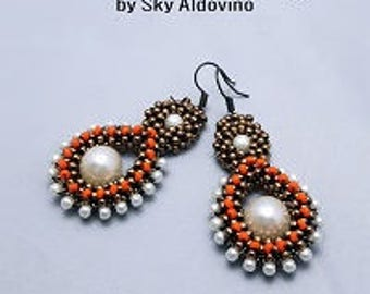 Cubic Right Angle Weave Earrings, Beaded Earrings Beading Tutorial, Pearl Drop Earrings Tutorials l98
