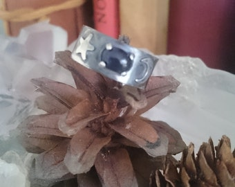 Iolite and sterling silver hammered band ring