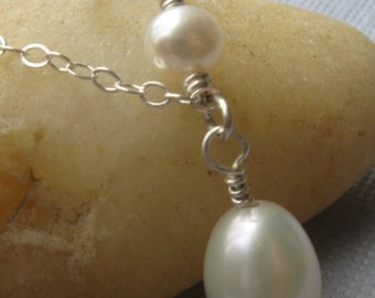 Freshwater pearl necklace sterling silver