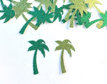 Palm Tree Confetti - palm tree - Confetti - scatters - tropical - summer - green - glitter - tropical party supplies - Summer - luau -