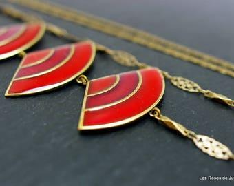 Necklace art deco fan, long necklace