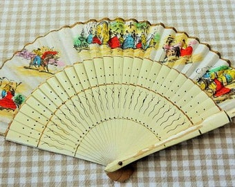 Bamboo With Painted Fabic Spanish Scenes Folding Souvenir Fan