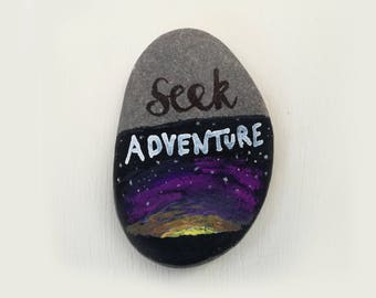Painted Pebble - Seek Adventure, Sunset Pebble, Hand Painted Pebble, Starry Sky Pebble