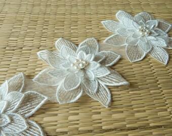 White Flower Appliques, Floral Appliques,  Floral Embellishments, Bridal Appliques- One Flower