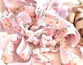 DIY Delicate Floral Hair Ties, Create Your Own Favors, Pink Floral Hair Ties, Floral Hair Ties, Romantic Floral Hair Ties, Pink Hair Ties