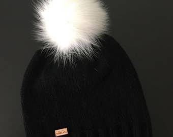 BLACK Cashmere Beanie with SNOW WHITE Fox Fur Pom-Pom