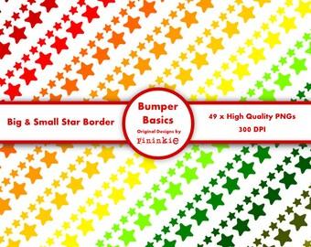 49 x digital borders - Stars - INSTANT DOWNLOAD - PNG - Digital Ribbon Clipart