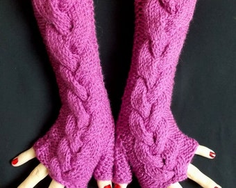 Pink Fingerless Gloves Orchid Cabled  Acrylic Wrist Arm Warmers