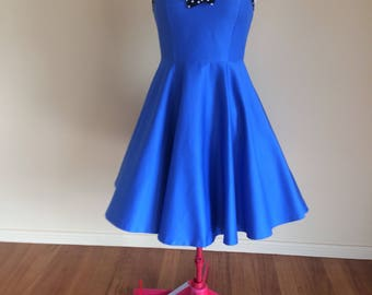 Pretty Blue Pinup Dress / Swing Dress / Rockabilly Dress / Circle Dress