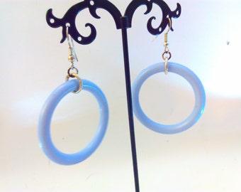NOS, 4.5cm, blue, Vintage, earrings, 1980s, blue hoops, vintage earrings, blue hoop earrings, blue earrings,  hoop earrings, kitsch hoops