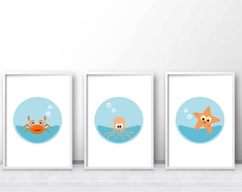 Under The Sea Printable Nursery Art Set, Sea Nursery Prints, Ocean Nursery Wall Art, Printable Kids Wall Art Set Of 3, Baby Wall Art Prints