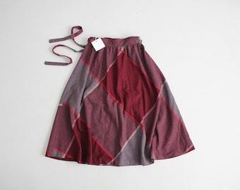 plaid wool skirt   maroon and grey plaid skirt   full plaid skirt