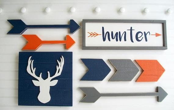 Woodland Adventure Nursery set . Woodland Nursery . Name Sign . Custom Baby Name Sign . Antler . Arrows . Chevrons Arrows. Nursery Set