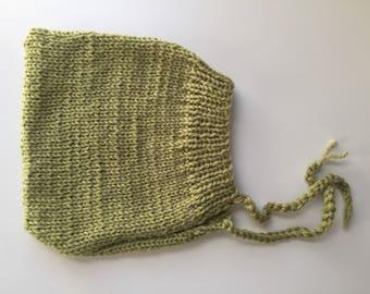 Sweet Pea Green Pixie Bonnet, Size 3-6 Months