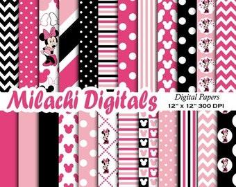 60% OFF SALE Minnie mouse digital paper, scrapbook papers, wallpaper, minnie background, polka dots, chevron, stripes - M405