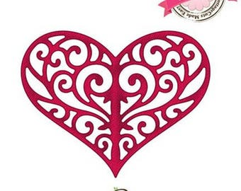 Die die cut metal heart filigree Cottage Cutz Elites