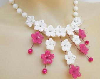 Sakura, Flower Jewelry, Hot Pink Jewelry, Sakura Jewelry, Cherry Blossom, Romantic Jewelry, Wedding Jewelry, Bridesmaid Gift, Women Gift