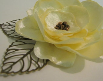 Bridal Wedding Statement Floral Yellow flower hair clip with bronze filigree metal leaves
