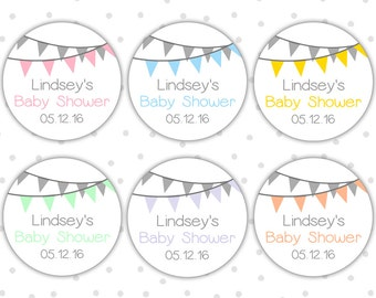 Baby shower stickers - Baby shower labels - Personalized baby shower stickers - Baby shower favor labels (RW065)