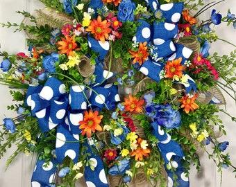 Blue, Pink, Orange, and Yellow Wildflower Spring and Summer Mesh Door Wreath