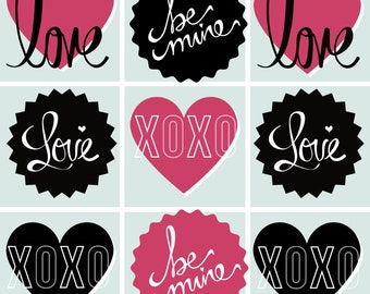 Collage printable with Love, xoxo, be mine, etc.