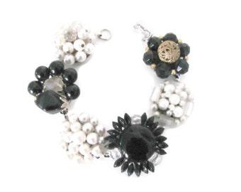 Upcycled Bracelet, Vintage Clip On Earring Bracelet, Beaded Bracelet - Black, White, Eco Friendly