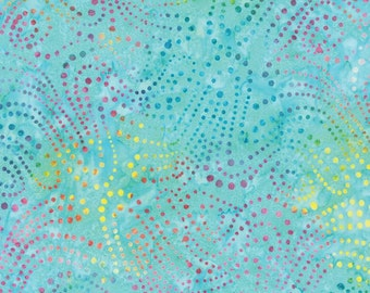 Sale! > Moda Batiks < Los Cabos Aqua 4335 11 > Fabric by the Yard < Blue pink yellow green dots Batik Fabric