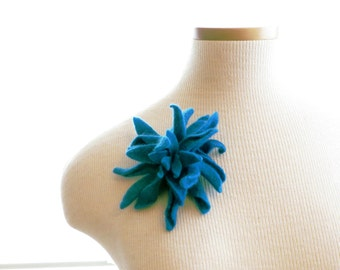 Azure Blue Cashmere Flower Brooch
