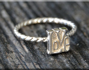 Sterling Silver LOVE Stacking Ring, Stacking Jewelry, LOVE Jewelry, Novelty Ring, Message Ring, Valentine Ring, Word LOVE Stacker Ring